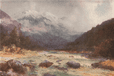 On the Bealey River' by Frank Wright. New Zealand, antique print 1908